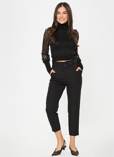 Loves You Yüksek Bel Duble Paça Havuç Pantolon Siyah